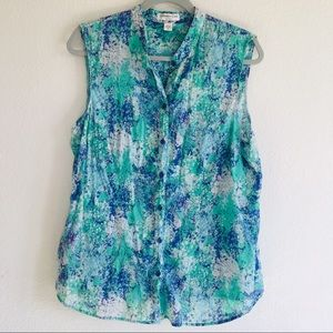 Coldwater Creek Floral Sleeveless Button Up Top